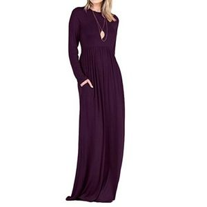 Tabeez Dresses - Dark purple maxi dress